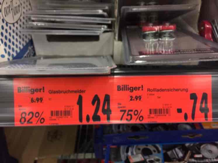 Kaufland Wertheim - Glasbruchmelder für 1,24€ und Rolladensicherung für 0,74€