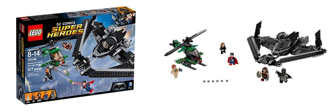Set Lego DC Comics Super Heroes – Helden der Gerechtigkeit: Duell in der Luft (76046) für 38,49 Euro.