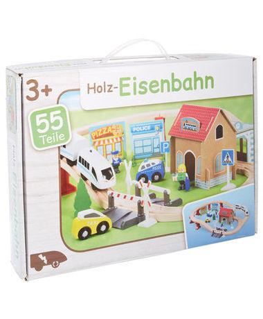 Holzeisenbahn 55.tlg (inkl. batteriebetriebenen Zug) für 9,99€ (Filiale) oder 14,95€ (Versand)