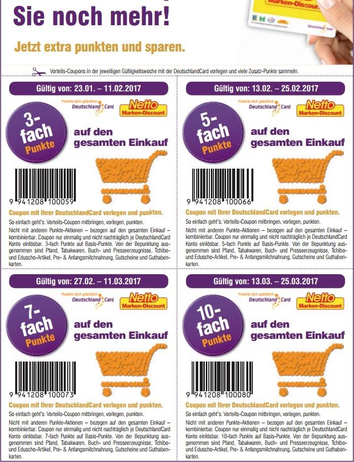 Netto Marken-Discount mit DeutschlandCard bis zu 10-fach Punkten Coupons zum ausdrucken
