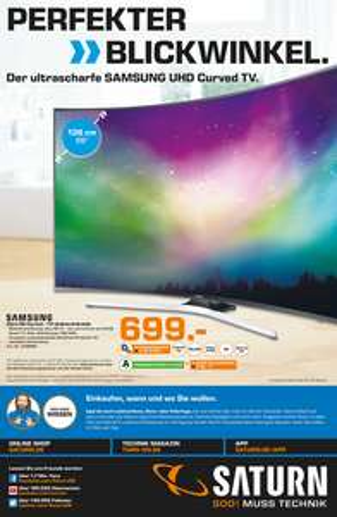 Samsung UE55KU6179 Fernseher 138 cm (55 Zoll) Curved 4K Ultra HD LED-TV, HDR Premium, Smart TV, WLAN für 699,-€ (SATURN Bochum)