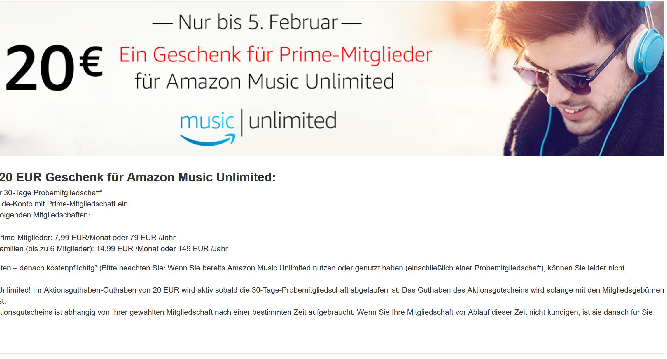 Amazon 20 € Gutschein für Amazon Music Unlimited für Prime Mitglieder