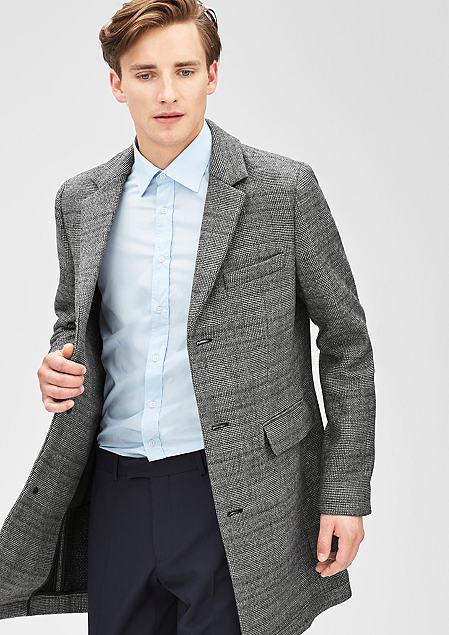 eleganter s.Oliver Business-Style-Mantel in grau mit Karomuster für 51,98€ inkl. Versand