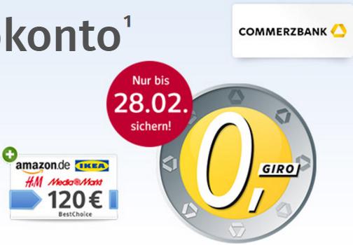 Commerzbank mit 150€ Universal-Gutschein bei Kontoeröffnung | Gebührenfrei | OHNE Mindesteingang über web.de / gmx.de