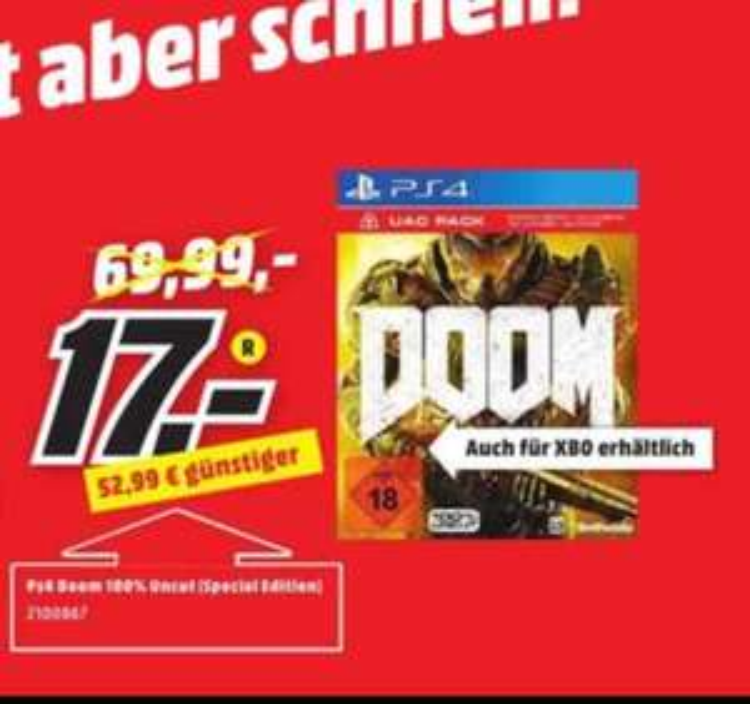 [MediaMarkt Aachen&Umgebung] Doom UAC Pack für PS4 & XB1 für nur 17€ (idealo PVG: 29€)