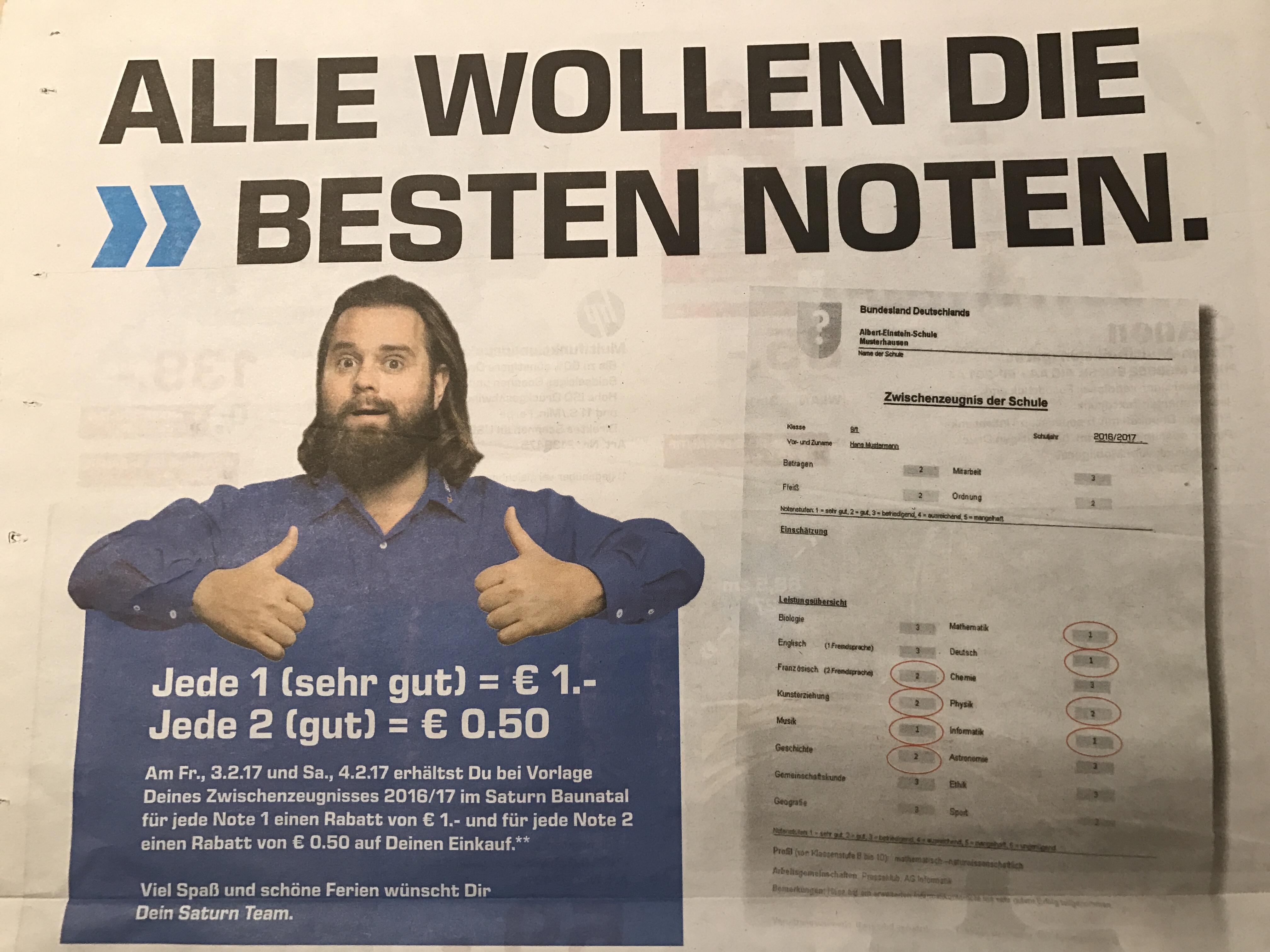 [Lokal Baunatal/Nordhessen] Saturn Zeugnis-Aktion - mit guten Noten Geld sparen am 3.2. & 4.2.2017
