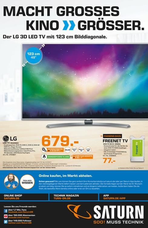 [Lokal - Saturn Dortmund, Witten, Lünen] LG 49UH668V LED TV 49 Zoll (123 cm), A+, UHD 4K, 60 Hz, SMART TV für 679€