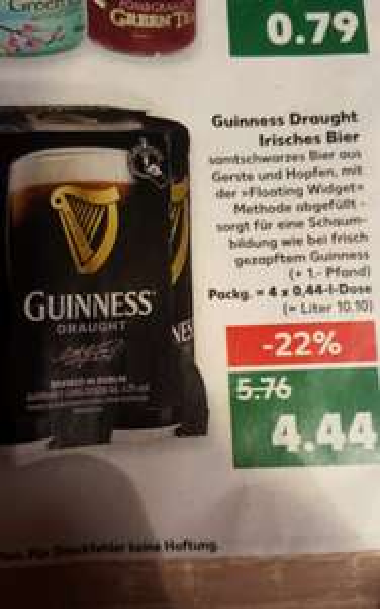 4x0,44 l Guinness Draught im Kaufland für 4,44 € (Normalpreis 5,76€)