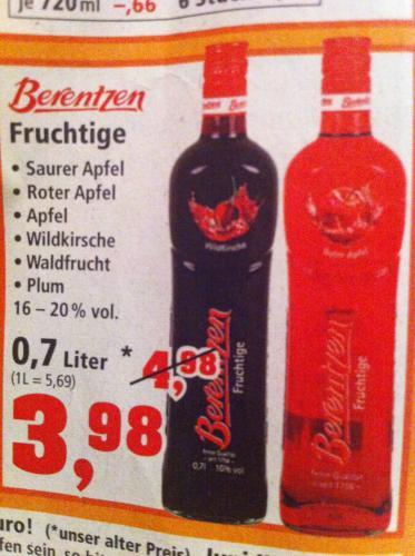 Berentzen 0,7l verschiedene Sorten für 3,98 € bei Thomas Philipps