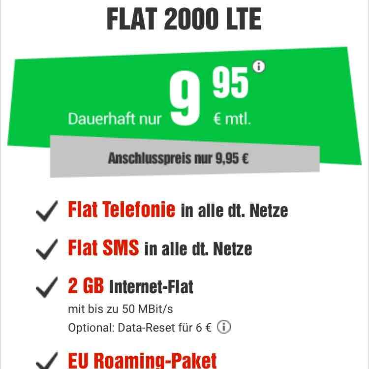 Flat 2GB SMS Flat bis 50 MBit/s