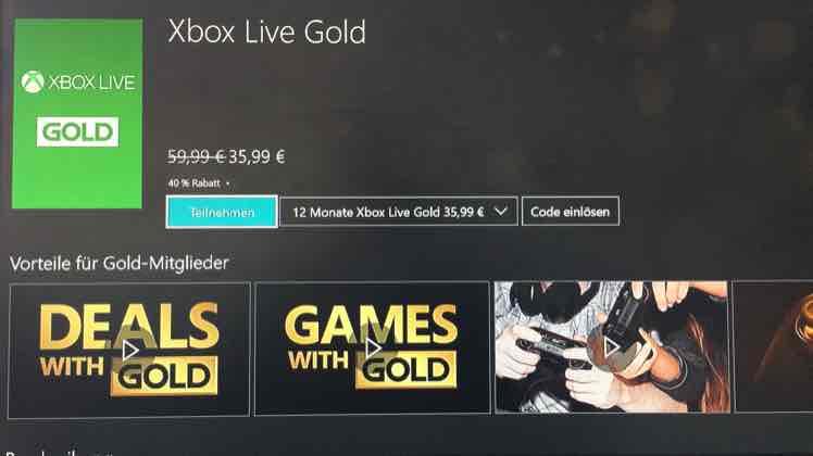 Xbox Live Gold 35,99€ 12 Monate original Microsoft