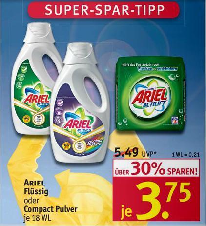 Ariel Flüssig/Pulver je 18WL für 1,75€ bei Rossmann