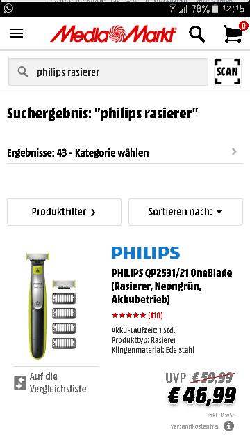 PHILIPS QP2531/21 OneBlade (Rasierer, Neongrün, Akkubetrieb)