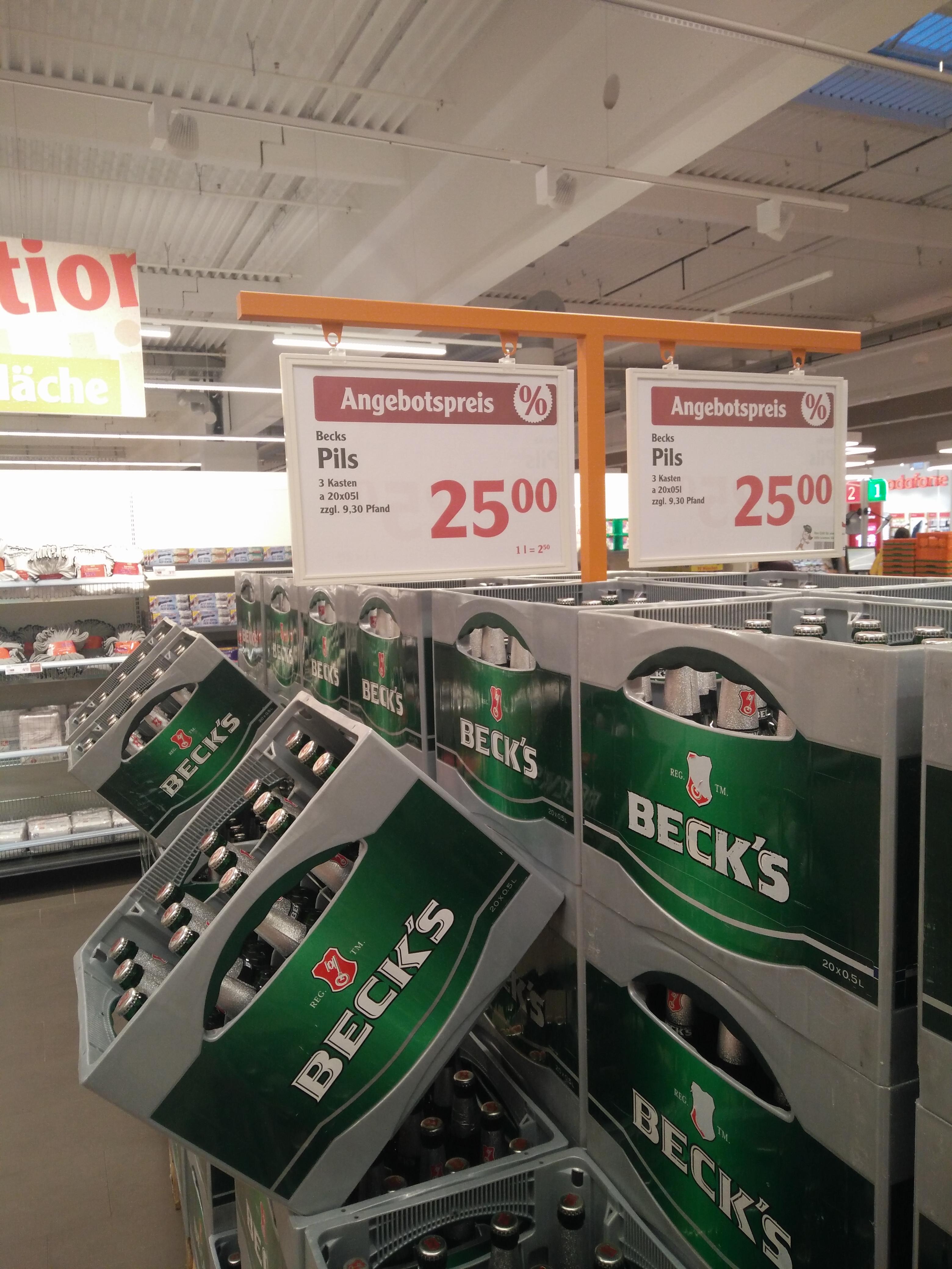 3 Kästen Becks 20x0,5l im Globus Rüsselsheim-Bauschheim für 25€