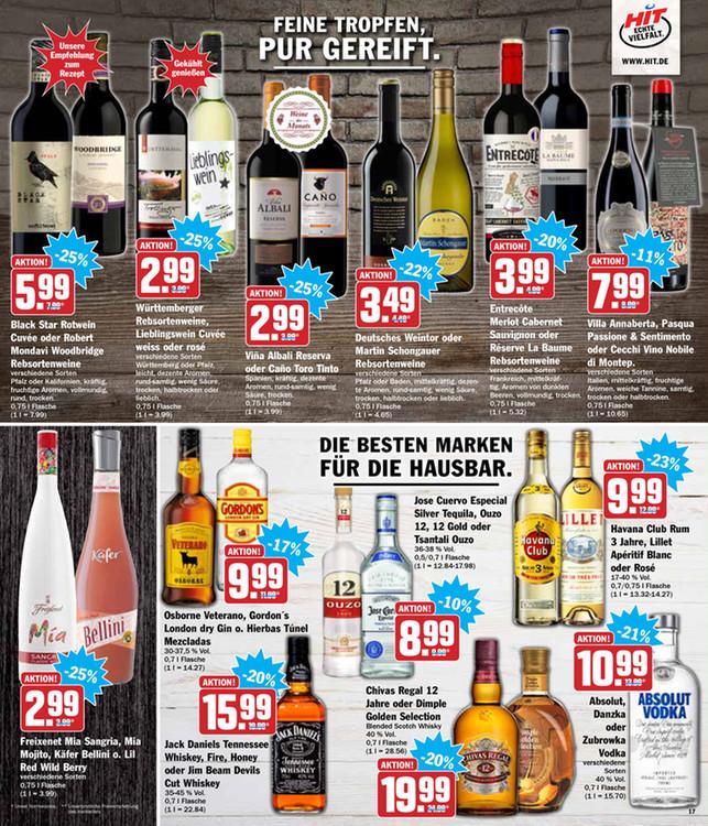 Jack Daniels - Chivas - Absolut Vodka und Havanna Club 20 saftige Prozent im HIT-Markt