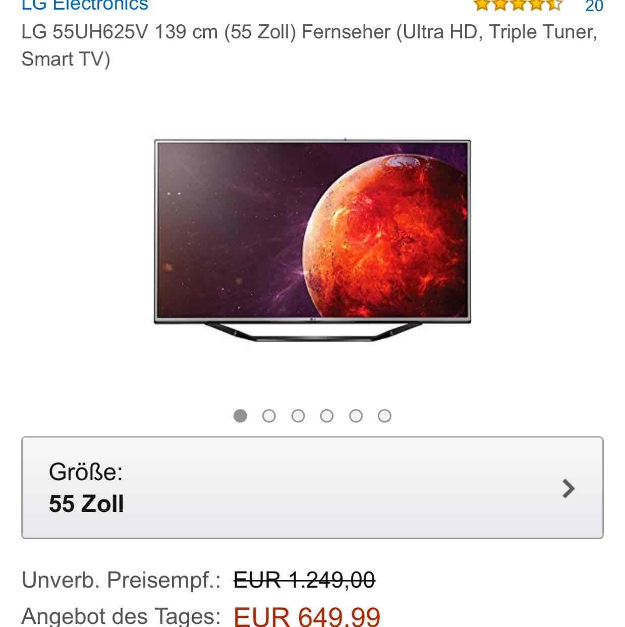 "AMAZON Tagesangebot LG 55UH625V 4K HDR10 55"" TV für 649€"