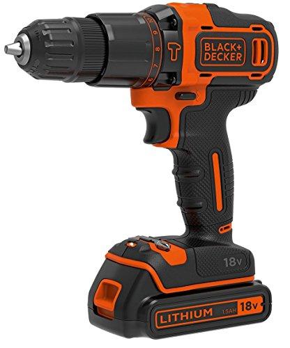 Black + Decker 2-Gang Schlagbohrschrauber mit 2 Akkus 1,5Ah Ladegerät und Koffer 18 V BDCHD18KB für 118,32€ [Amazon.es]