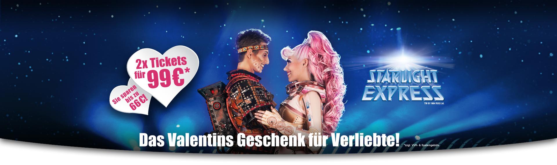 Starlight Express / Billy Elliot Musical Valentinsangebot 2x PK2 ab 99 € / 2x PK1 ab 122€ *zzgl Gebühren