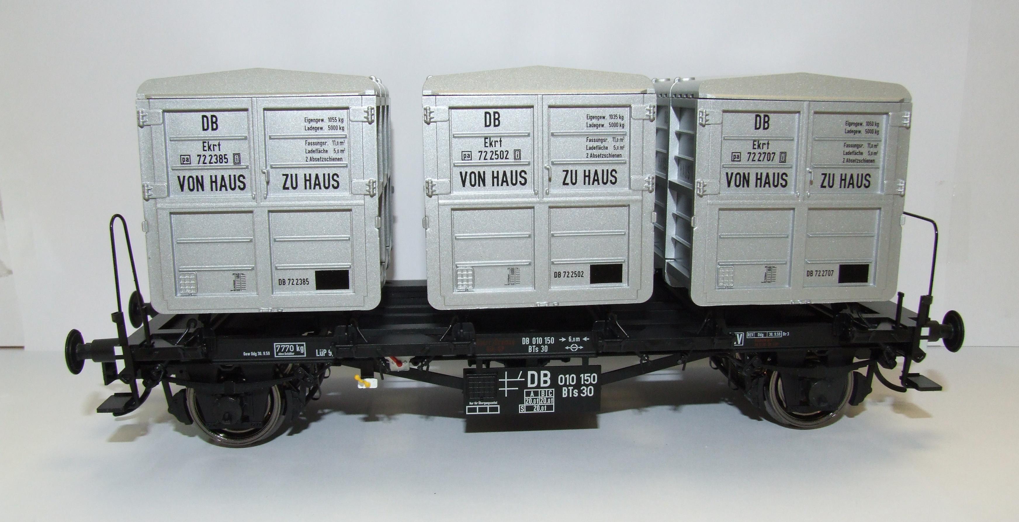 Vorbei...und damit zu langsam gewesen...    Schnell sein: Modellbahn BRAWA 37160 Spur 0 Behältertragwagen BTs30 DB EP III von Haus zu Haus bei Kieskemper