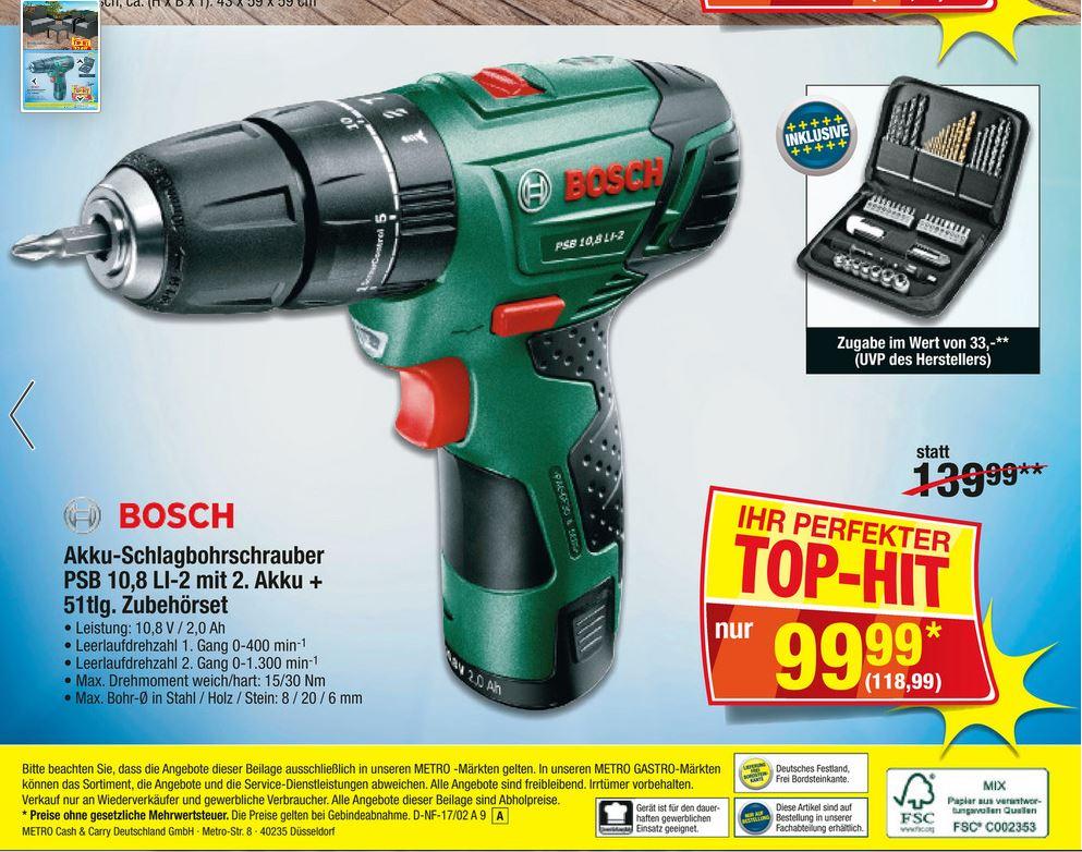 Bosch PSB 10,8 LI-2 mit 2. Akku + 51 teilg. Bit + Bohrerset / PVG 135,94€ (ohne Bit-Set)