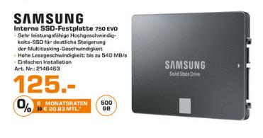 (lokal Karlsruhe) Samsung 750 EVO 500 GB am Montag, den 6.2