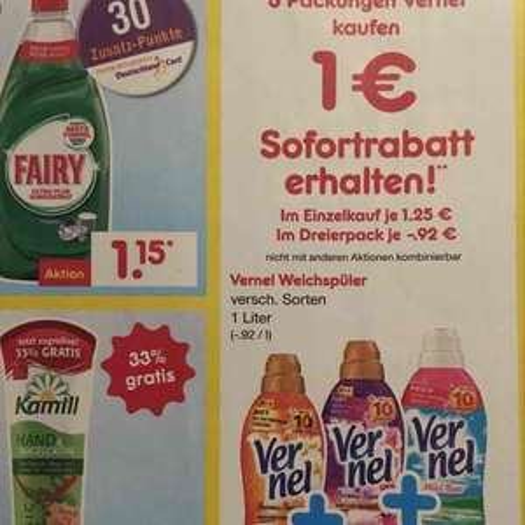 3x Vernel Weichspüler für umgerechnet 0,92€ die Flasche. [Netto Marken-Discount]