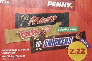 [Penny] Twix  / Snickers  / Mars je 10er Pack für 2,22 € am 10. + 11.02.17