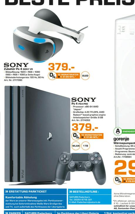 PS4 Pro (1TB) und PlayStation VR für jeweils 379€ | lokal Paderborn Saturn