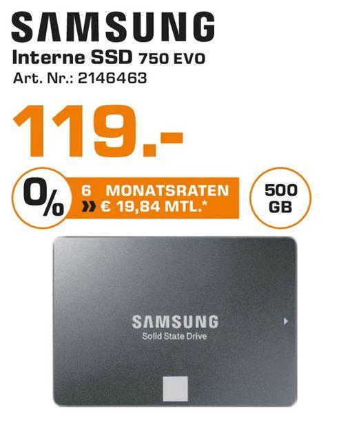 [Lokal Saturn Troisdorf/Siegburg/Hennef/Sankt Augustin] Samsung 750 EVO 500 GB SSD SATA III 2,5 Zoll Festplatte für 119,-€