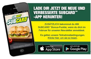[Subway] Subcard 499 Punkte gratis bei Anmeldung für Newsletter