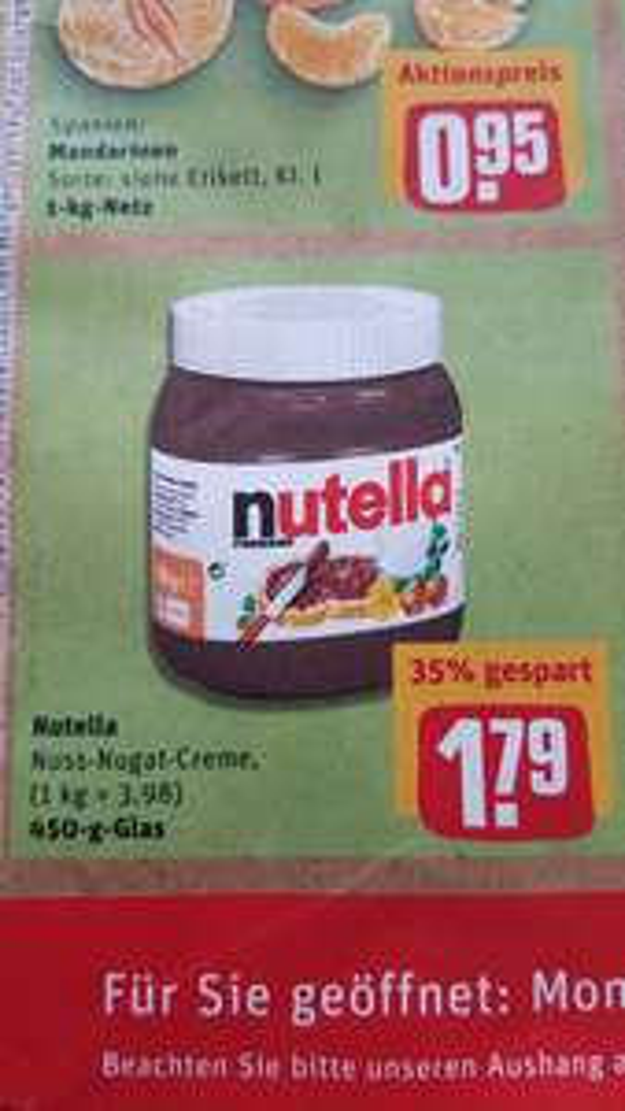 [Rewe] Nutella 450g nur 1.79 Euro