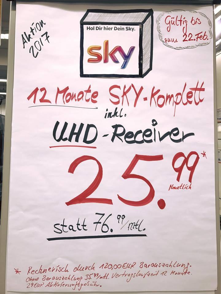 SKY KOMPLETT - 25,99€ inkl. UHD-Receiver