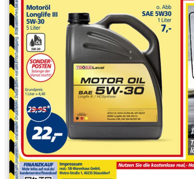 [real] offline: Motoröl 5W-30 Longlife III 5l Kanister für 22 EUR