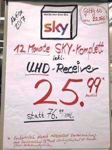 Sky HD komplett ! eff. 25,99 mtl. + UHD Receiver (auch bundesweit)