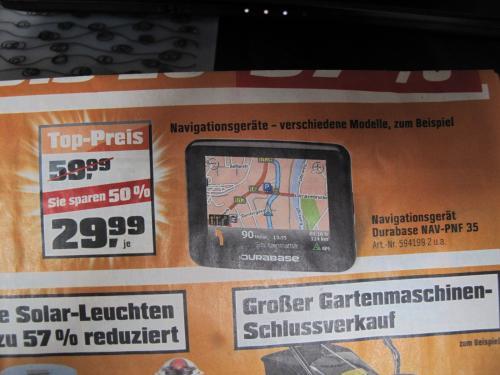 Navigationsgerät Durabase (A-Rival) NAV-PNF 35 für 29,99 € bei Obi!