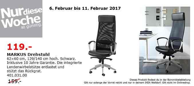 Ikea Markus Drehstuhl Schwarz Leder 119€ in Walldorf