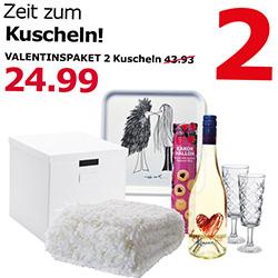 [Kaiserslautern] IKEA Valentinspaket mit Secco, Sektgläsern, Decke, Tablett etc. für 24,99€ statt 43,93€