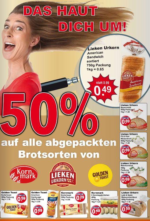 [K & K] 50% Rabatt auf abgepacktes Brot von Lieken, Golden Toast etc. - z. B. American Sandwich von Lieken für 0,49€ / 750g