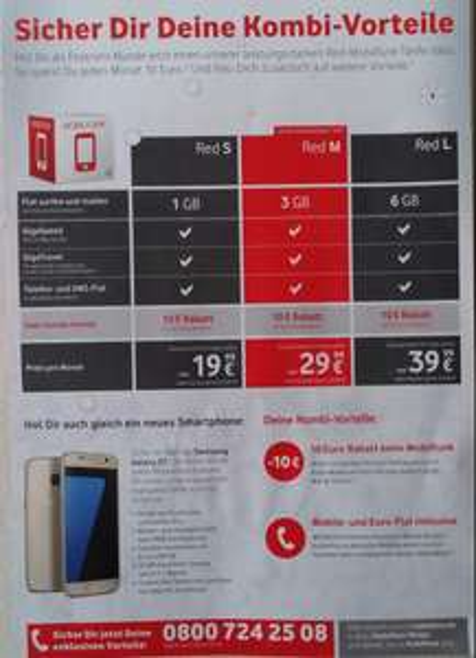 (Vodafone Bestandskunden) Red S samt Samsung Galaxy S7 für 19,99€