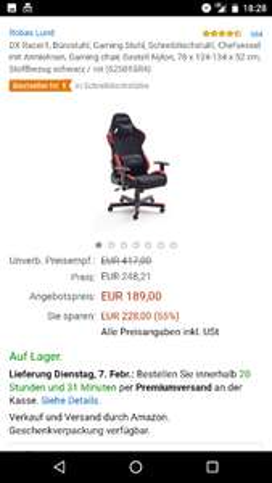 [Amazon] Blitzangebot | DX Racer 1 Bürostuhl für 189,00€