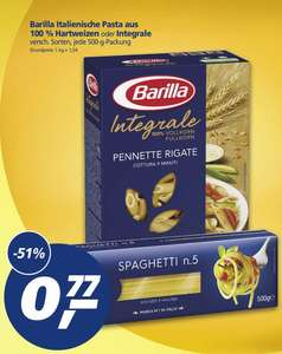real,-: Barilla (500gr.) verschiedene Sorten - auch Integrale für 0,77 Euro.