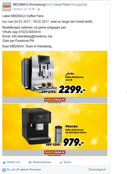 Miele CM 6350 Black Edition und Jura Z8 bei MEDIMAX in Heinsberg