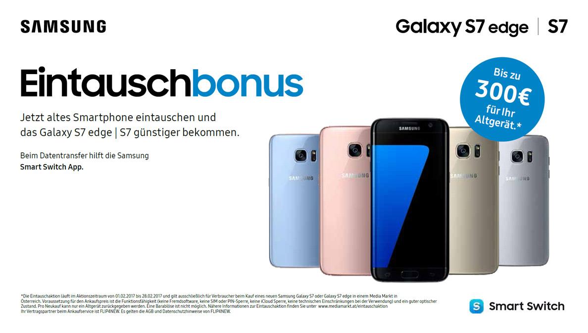 [MediaMarkt.at] Handy eintauschen und bis zu 300€ Rabatt auf das S7 oder S7 Edge erhalten