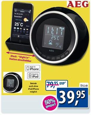 Ab heute bei Kodi ---  AEG Stereo-Uhren-Radio für iPod/iPhone runter von 79,95 € auf  39,95 €