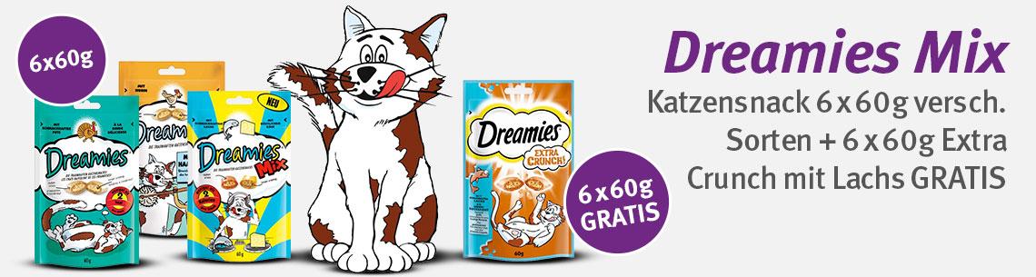 TIERFUTTER Dreamies katzensnacks 3x 6erpack+6ergratis