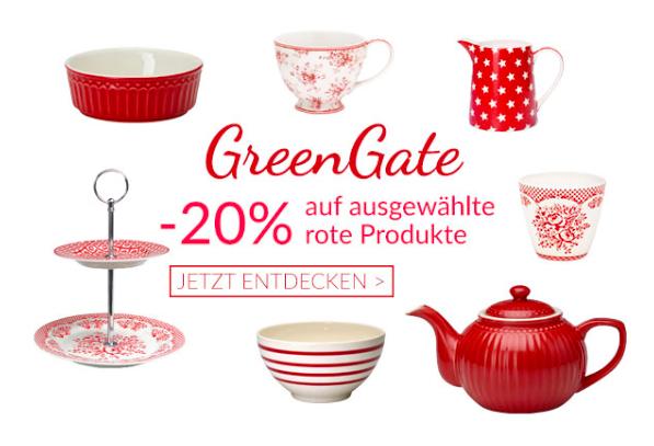 20% Rabatt auf rote Produkte von GreenGate + 5€ NL Gutschein bei Pinkmilk, z.B. Porzellan-Backform für 21,42€ inkl. VSK