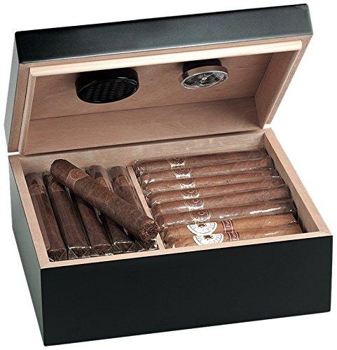 Amazon Italien: Egoist JK00180 Holz Humidor Box mit Hygrometer für ca. 40 Zigarren, Zigarren-Zubehör - Schwarz