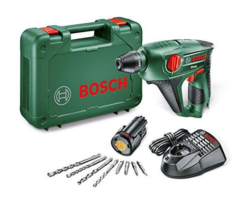 [Amazon-Blitzangebot] Bosch DIY Akku-Bohrhammer Uneo, Akku, Ladegerät, Betonbohrer, 2 x Universalbohrer 5 und 6 mm, Bits, Koffer (10,8 V, 2,0 Ah, 10 mm Bohr-Ø Beton) für 78,08 €