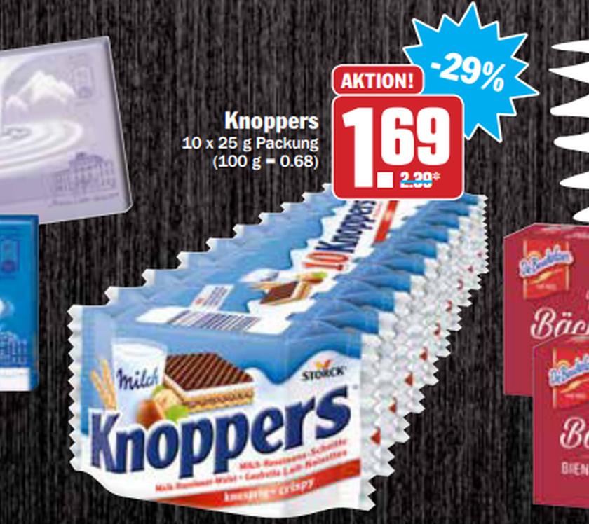 Eine Stange Knoppers für 1,69€ bei HIT & AEZ (0,17€/Stück)