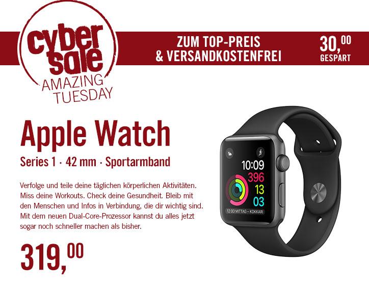 [Cyberport] Apple Watch Series 1 Aluminium Space Grey-Black, Sportarmband, MP032ZD/A, 42mm